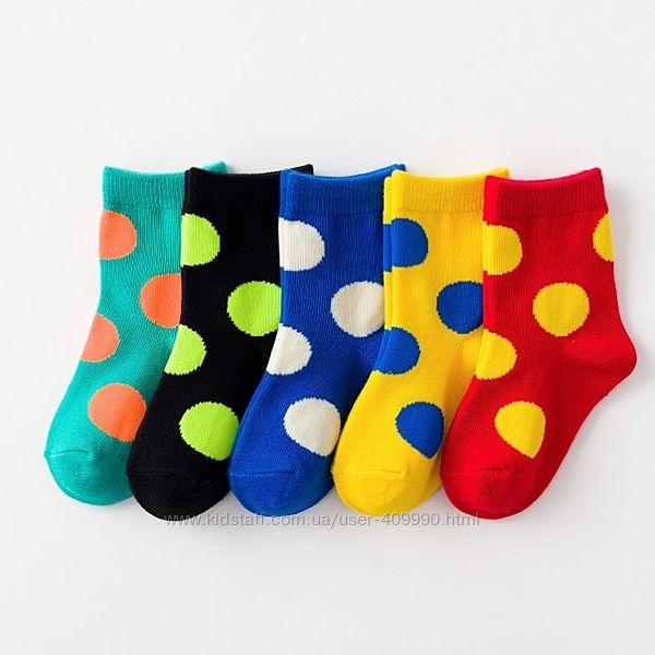 Набор носков Горох, Смайлы осень-весна унисекс 5 штук для детей, подростков