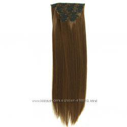 Волосы трессы комплект термостойкие черный, блонд, русый, коричневый