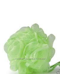 Мочалка для душа от Ив Роше - зеленый бант и массажная мочалка малиновая