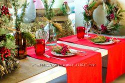 новогодний текстиль красная дорожка на стол