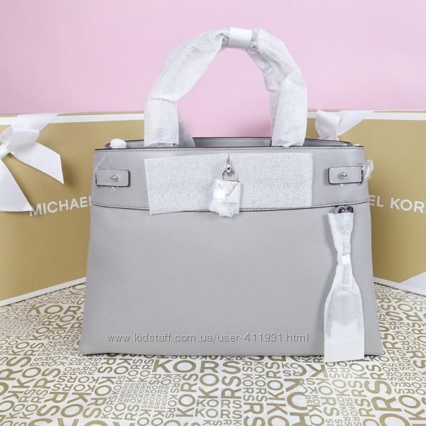 Кожаная сумка Michael Kors gramercy large pearl grey оригинал Майкл Корс