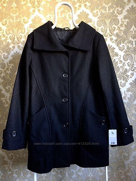 Пальто шерстяное TU черное новое Англия L