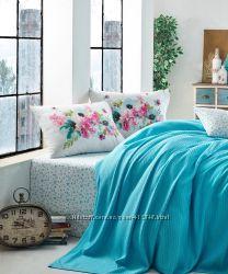 Cotton Box Пикейное постельное белье Pike Jasmina turkuaz. Коллекция Garden