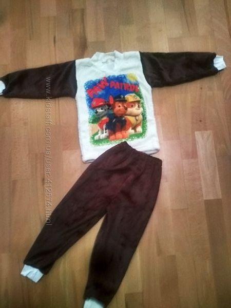 Теплые пижамы рваная махра вельсофт с накатом Человек-паук, Патруль, Тигрят