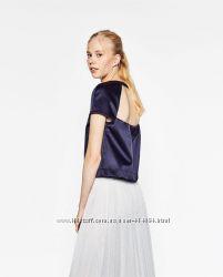Стильная футболка Zara с открытой спиной XS, S размеры. Оригинал.