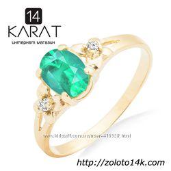 Золотое кольцо с изумрудом и бриллиантами 0, 03 карат 17 мм. Желтое золото. 8e651d09f31