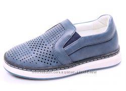 Легкие стильные туфли - мокасины с перфорацией для мальчика ТМ Сказка