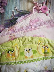 Бортики, защита,2 комплекта, балдахин, ортопедическая подушка для девочки
