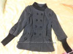 Стильное красивое серое короткое пальто деми, р. М-L 14, воротник стойка