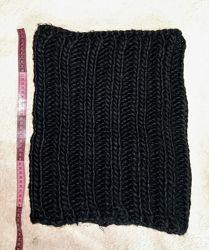 Зимний теплый снуд, шарф шапка 2 в 1, крупная вязка, черный, очень стильный