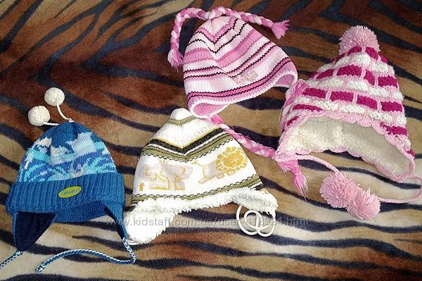 Зимние теплые шапки с завязками и ушками, на 2-5 лет. Польша. Шапка Loman
