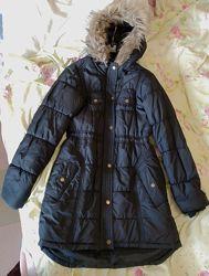 Удлиненная куртка парка пальто евро зима Peacocks, 44-46 М, приталенная