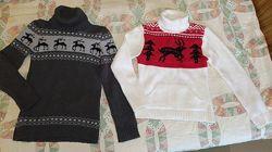 Зимний теплый свитер с оленями, М 44-46, с высоким горлом. Серый и белый