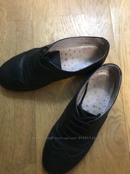 Продам кожаные туфли броги Next для девочки бу