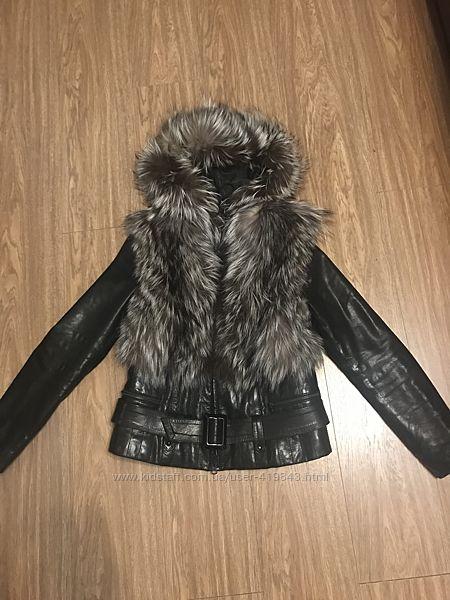 Куртка кожаная из чернобурки. Размер L.