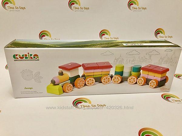Большой деревянный поезд CUBICA 38 деталей