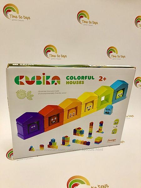 Конструктор деревянный Цветные домики CUBICA14866