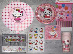 Hello Kitty Китти посуда атрибутика шары для праздника