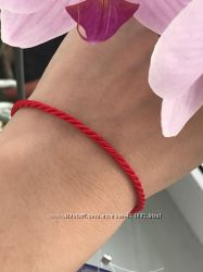Красная нить серебряная браслет от сглаза 4036