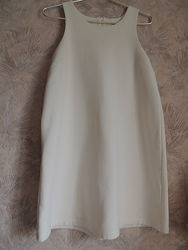 Крутой плотный сарафан-платье молочного цвета