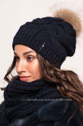 Красивая женская шапка с бубоном песец разные цвета наличие