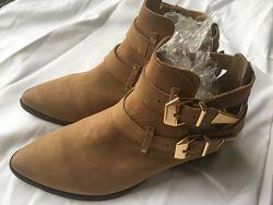 натуральная кожа pull & bear оригинал ботильоны, ботинки р. 39,40,41