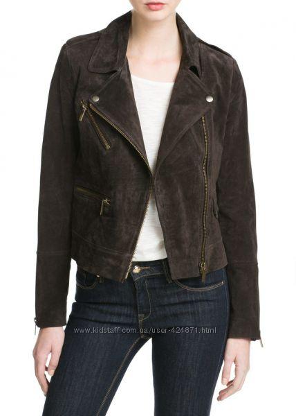 замшевая женская коричневая косуха, куртка l -xl  mango оригинал