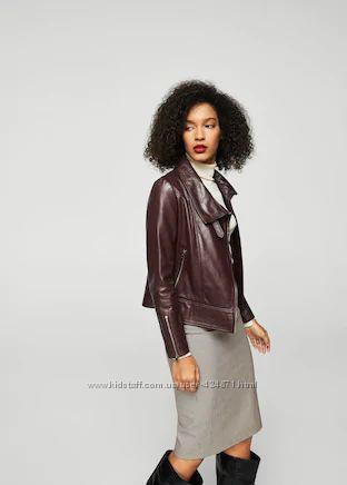 кожаная женская куртка, косуха  s mango оригинал цвет бордо, вишня
