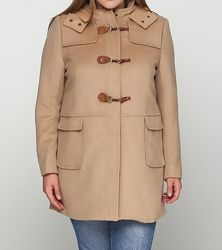 женское бежевое пальто из шерсти l-xl  Mango Violeta оригинал