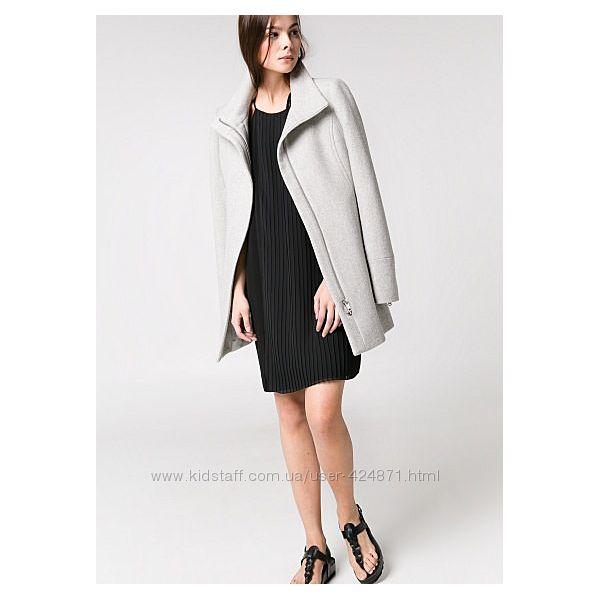 женское серое пальто из шерсти l-xl Mango оригинал