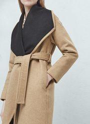 женское бежевое пальто на запах из шерсти s, m, l, xl Mango оригинал