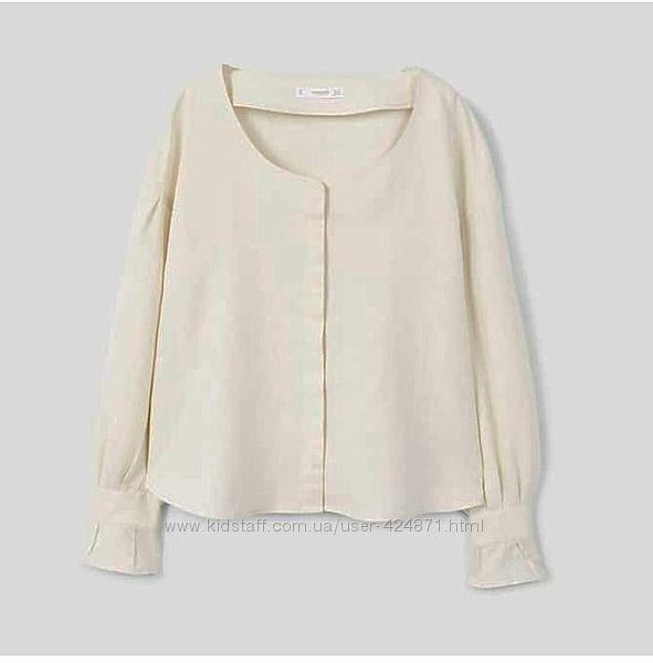 льняная рубашка, блузка женская m-l mango оригинал