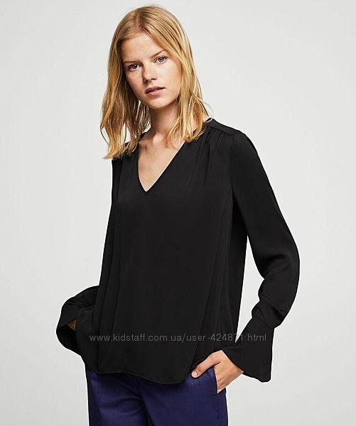 шелковая черная женская блузка, рубашка xs-m mango оригинал