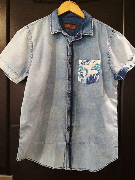 мужская джинсовая летняя рубашка с коротким рукавом l, xl Pull & Bear оригин