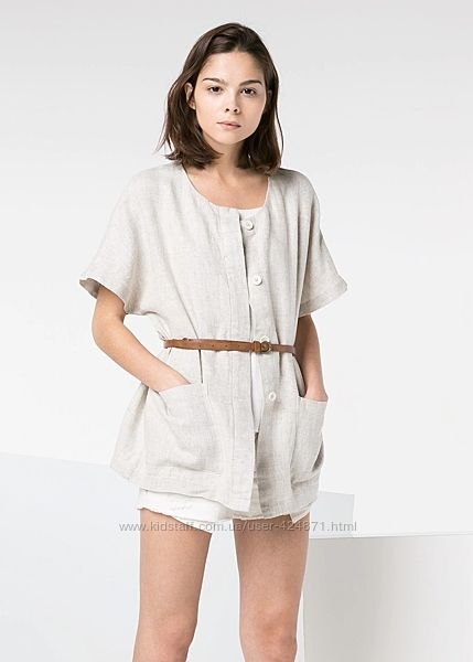 женская рубашка, кимоно, накидка лён натуральный m-l mango оригинал