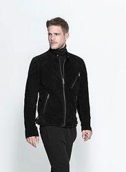 замшевая черная мужская куртка, бомбер s, m zara оригинал