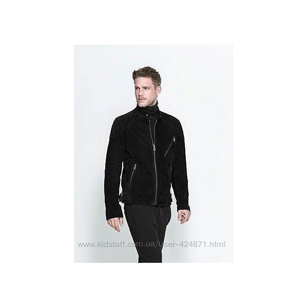 замшевая черная байкерская мужская куртка, бомбер s, m zara оригинал