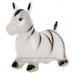 Прыгун резиновый Лошадка Корова Зебра плюшевый каталка качалка резиновый