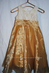 Золотое платье с бабочками на 7-8 лет