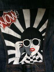 Пиджак джинсовый с росписью