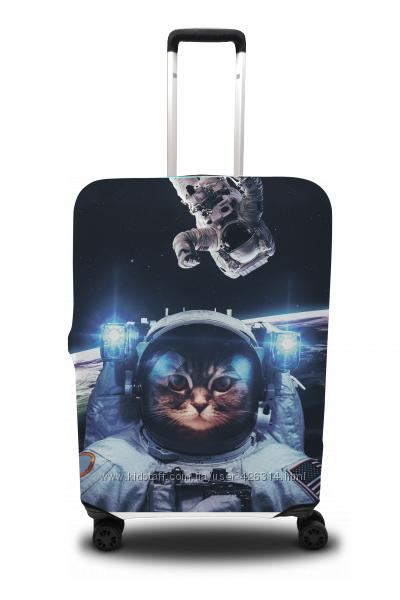 Чехол на чемодан с рисунком Кот в космосе