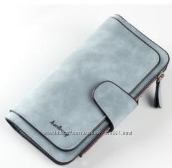 Серо-голубой кожаный кошелек клатч Baellerry