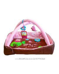 Развивающий коврик Ludi с поднимающимися бортиками Owl розовый