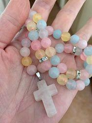 Ожерелье с крестиком кварц