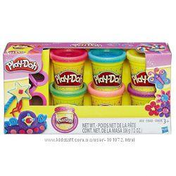 Набор пластилина Play-Doh из 6 баночек Блестящая серия, оригинал от Hasbro