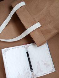 Эко сумка шоппер из крафтовой моющейся бумаги