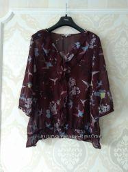 Размер 22 Очень красивая нарядная фирменная шифоновая блузка блуза