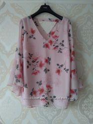 Размер 16 Красивая нарядная фирменная шифоновая блузка блуза