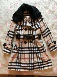 Красивое Пальто с мехом кролика на стройную девушку