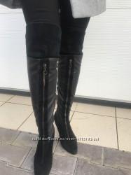 Кожаные сапоги ботфорты